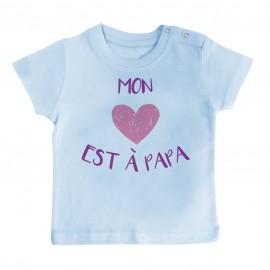 T-Shirt bébé Mon coeur est à papa