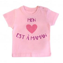 T-Shirt bébé Mon coeur est à maman