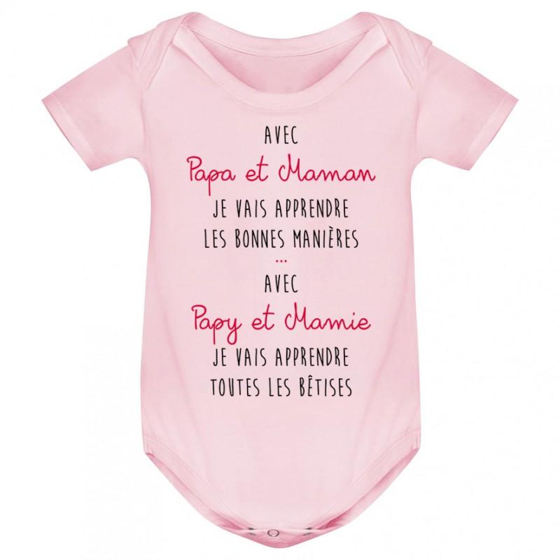 Body bébé Avec papy et mamie j'apprends les bêtises