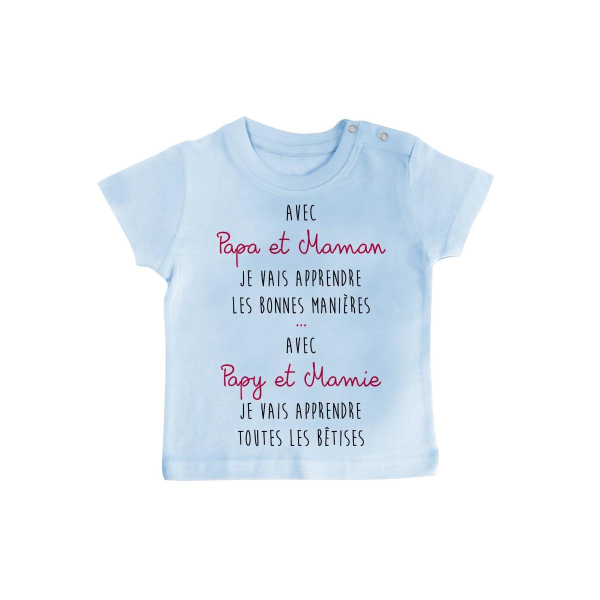 T-Shirt bébé Avec papy et mamie j'apprends les bêtises