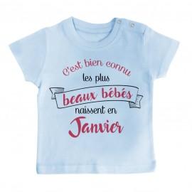 T-Shirt bébé Les plus beaux bébés naissent en JANVIER