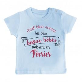 T-Shirt bébé Les plus beaux bébés naissent en FEVRIER