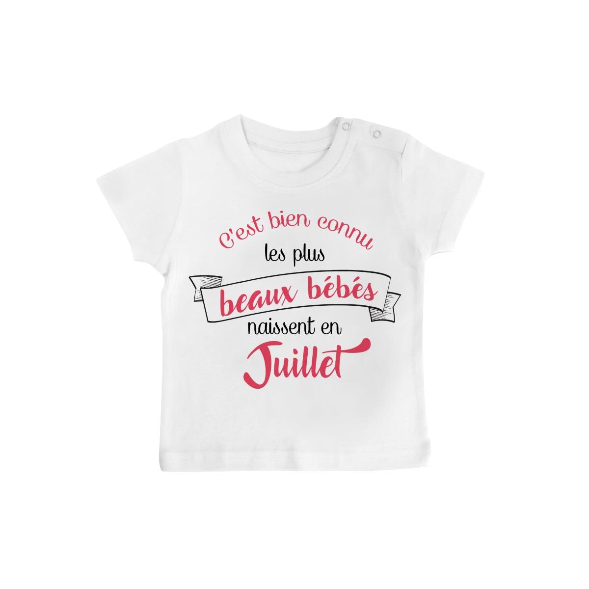 T-Shirt bébé Les plus beaux bébés naissent en JUILLET