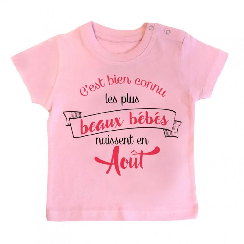 T-Shirt bébé Les plus beaux bébés naissent en AOUT