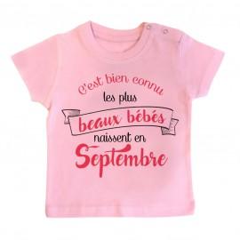 T-Shirt bébé Les plus beaux bébés naissent en SEPTEMBRE