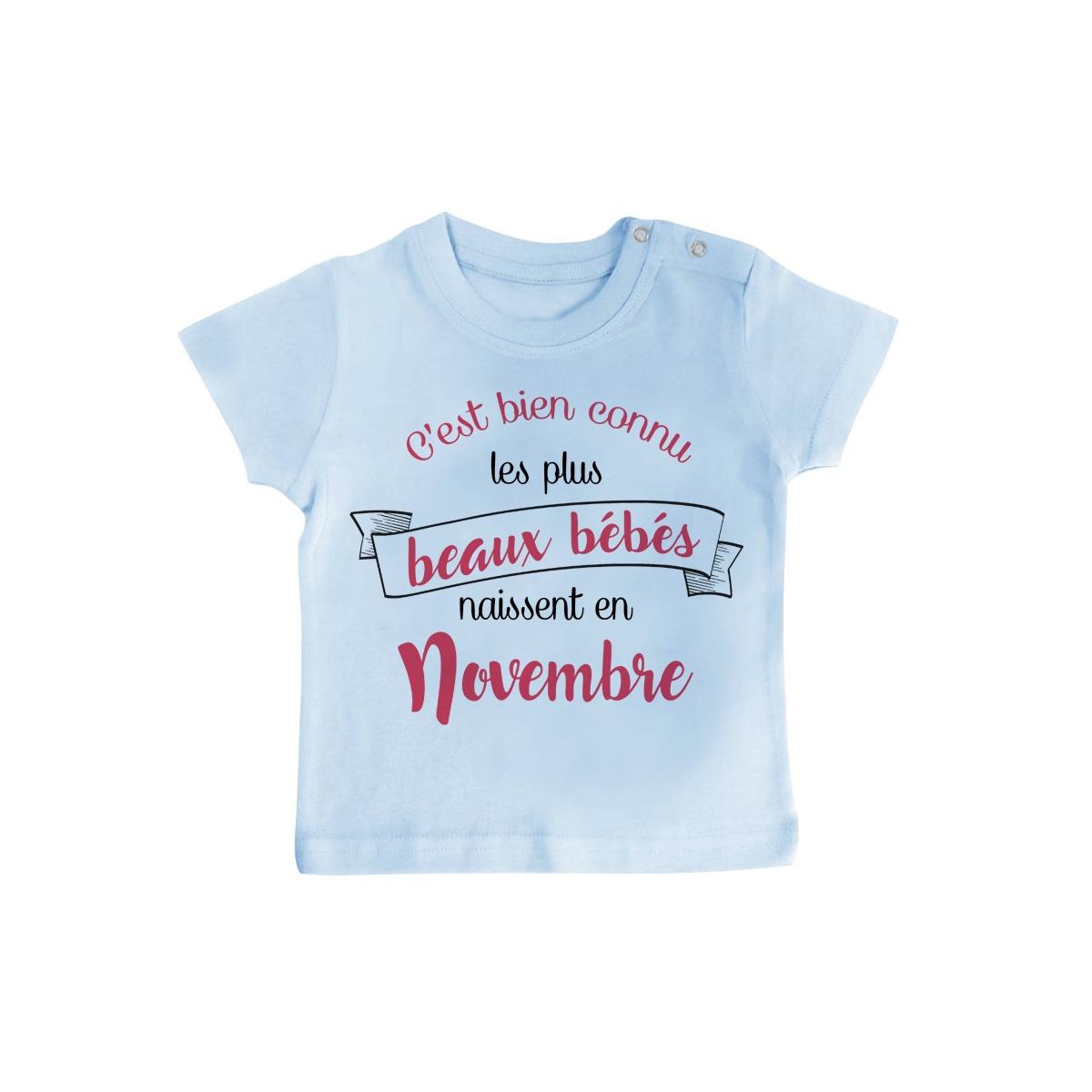 T-Shirt bébé Les plus beaux bébés naissent en NOVEMBRE