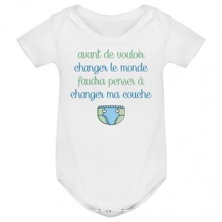 Body bébé Avant de changer le monde, faudra changer ma couche