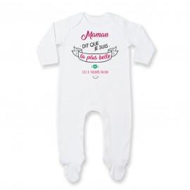 Pyjama bébé Maman dit que je suis la plus BELLE