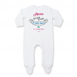 Pyjama bébé Mamie dit que je suis le plus BEAU