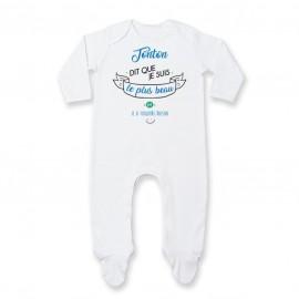 Pyjama bébé Tonton dit que je suis le plus BEAU