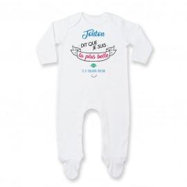 Pyjama bébé Tonton dit que je suis la plus BELLE
