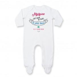 Pyjama bébé Marraine dit que je suis le plus BEAU