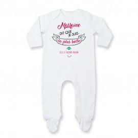 Pyjama bébé Marraine dit que je suis la plus BELLE