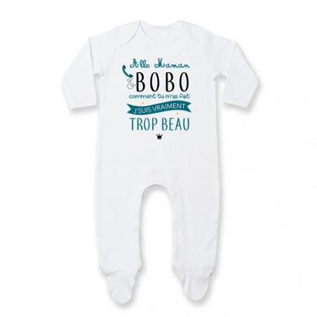 Pyjama bébé Allo maman bobo comment tu m'as fait j'suis vraiment trop beau ( version garçon )