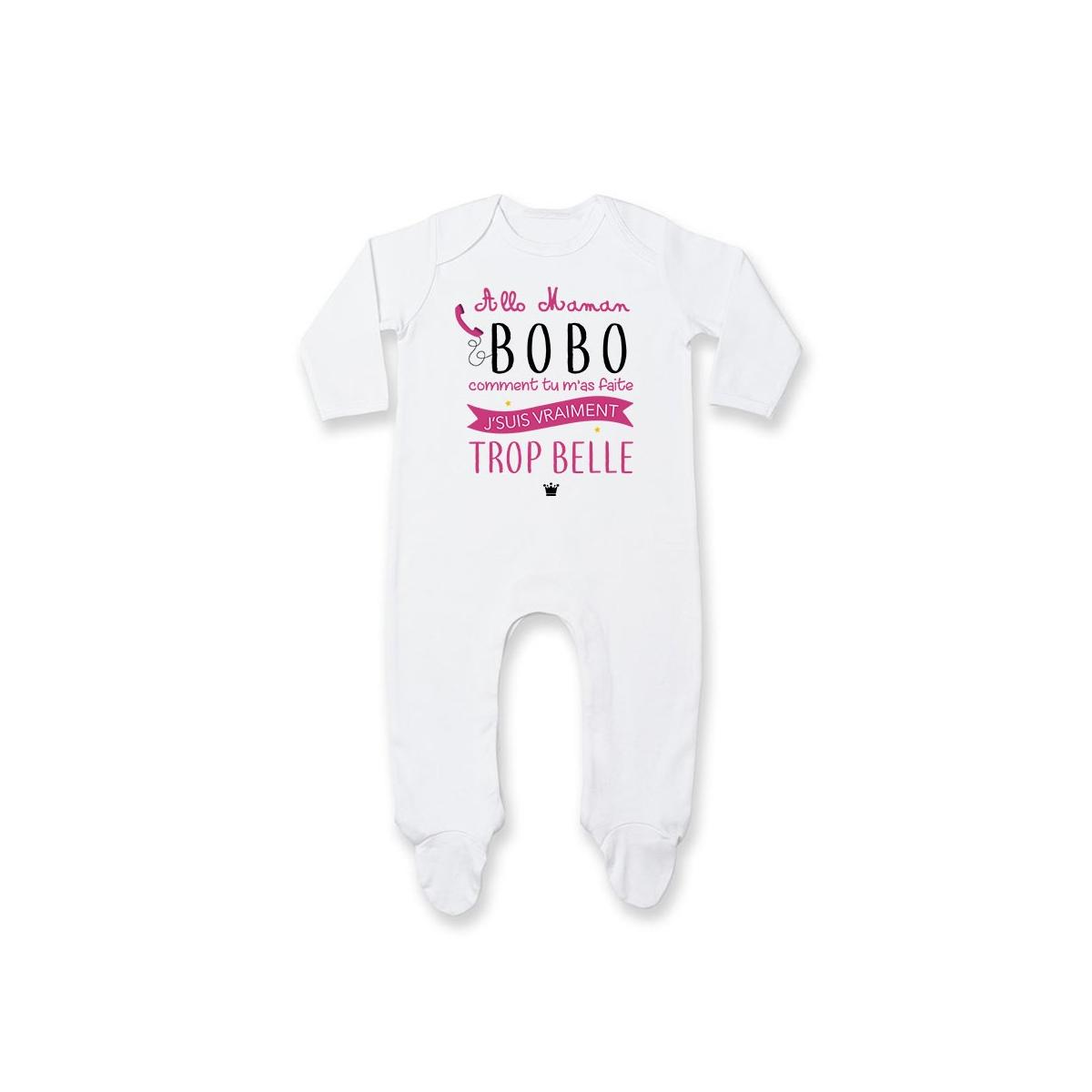 Pyjama bébé Allo maman bobo comment tu m'as faite j'suis vraiment trop belle ( version fille )