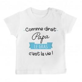 T-Shirt bébé Comme dirait papa le gras c'est la vie