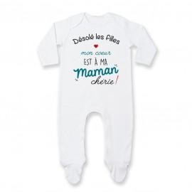 Pyjama bébé Désolé les filles mon coeur est à ma maman