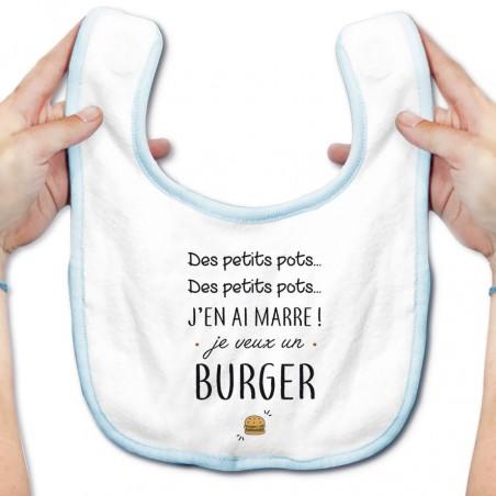 Bavoir bébé J'en ai marre je veux un burger