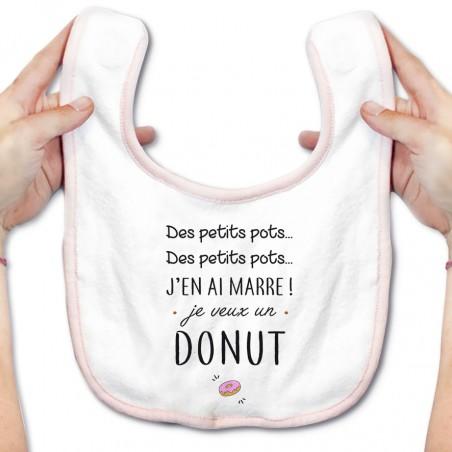 Bavoir bébé J'en ai marre je veux un donut