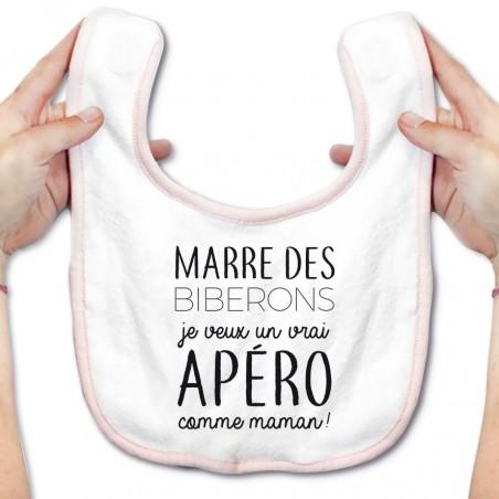 Bavoir bébé Je veux un vrai apéro comme maman