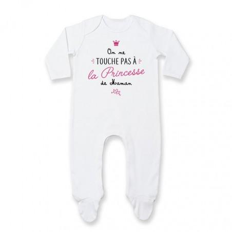 Pyjama bébé On ne touche pas à la princesse de maman