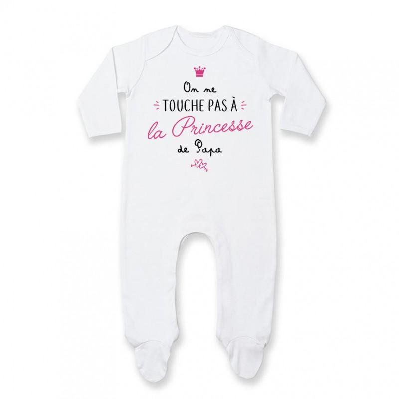 bdb6ef4810732 Pyjama bébé On ne touche pas à la princesse de papa