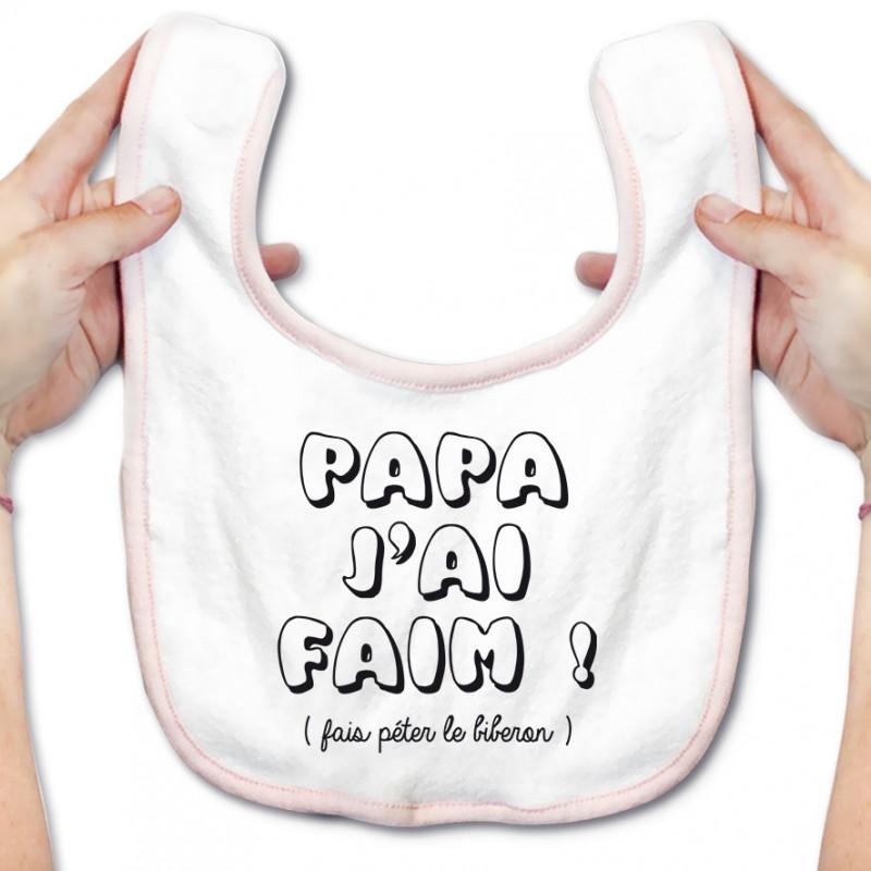 Bavoir bébé Papa j'ai faim