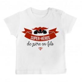T-Shirt bébé Super-héros de père en fils