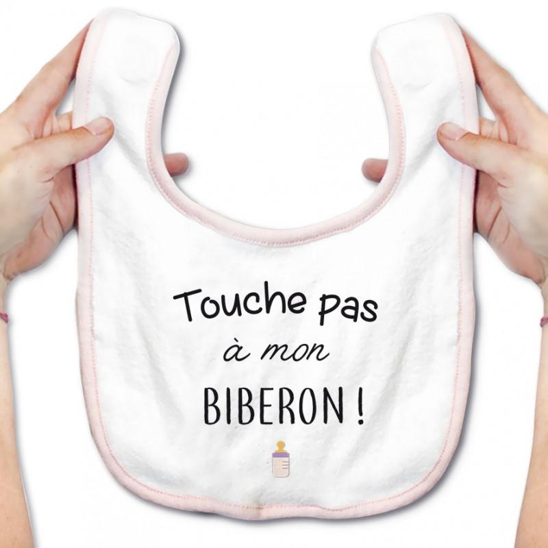 Bavoir bébé Touche pas à mon biberon