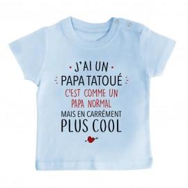 T-Shirt bébé J'ai un papa tatoué