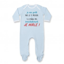 Pyjama bébé Je suis gentil mais je HURLE