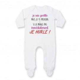 Pyjama bébé Je suis gentille mais je HURLE