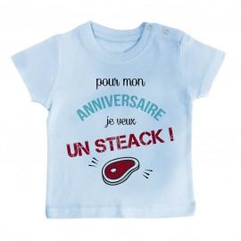 T-Shirt bébé Je veux un STEACK