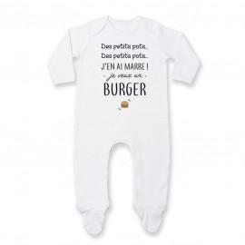 Pyjama bébé J'en ai marre je veux un burger