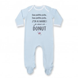 Pyjama bébé J'en ai marre je veux un donut
