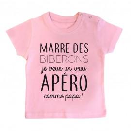T-Shirt bébé Je veux un vrai apéro comme papa