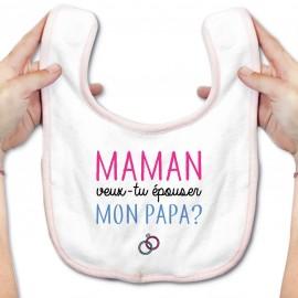 Bavoir bébé Maman veux-tu épouser papa ?
