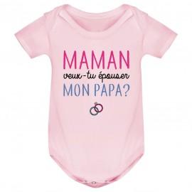 Body bébé Maman veux-tu épouser papa ?