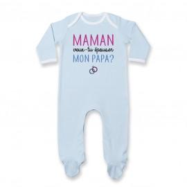 Pyjama bébé Maman veux-tu épouser papa ?