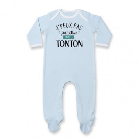Pyjama bébé J'peux pas j'ai bêtise avec tonton