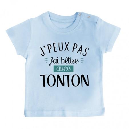 T-Shirt bébé J'peux pas j'ai bêtise avec tonton ( version garçon )