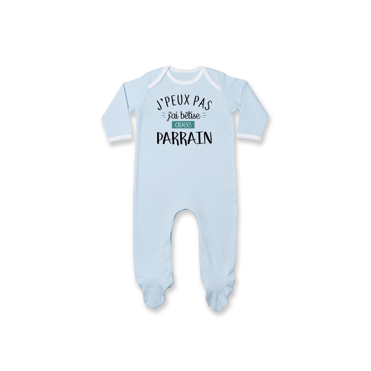 Pyjama bébé J'peux pas j'ai bêtise avec parrain ( version garçon )