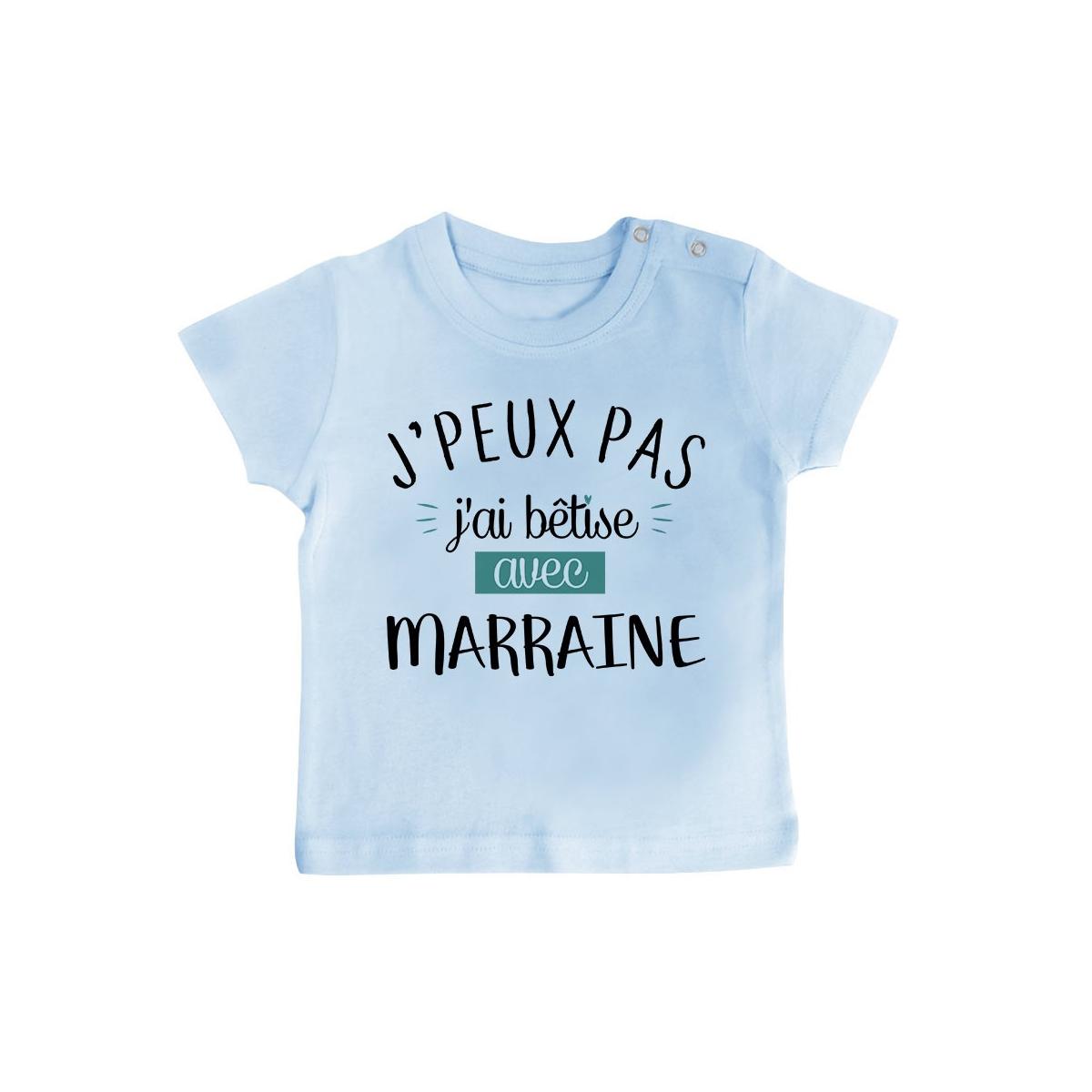 T-Shirt bébé J'peux pas j'ai bêtise avec marraine ( version garçon )