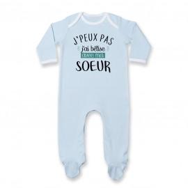Pyjama bébé J'peux pas j'ai bêtise avec ma soeur ( version garçon )