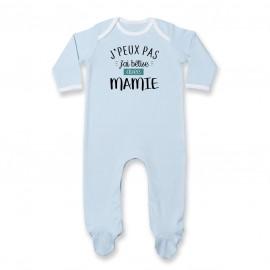 Pyjama bébé J'peux pas j'ai bêtise avec mamie ( version garçon )