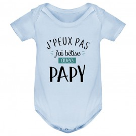 Body bébé J'peux pas j'ai bêtise avec papy ( version garçon )