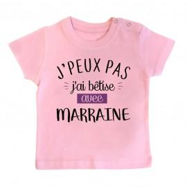 T-Shirt bébé J'peux pas j'ai bêtise avec marraine ( version fille )