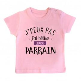 Pyjama bébé J'peux pas j'ai bêtise avec parrain ( version fille )