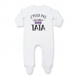 Pyjama bébé J'peux pas j'ai bêtise avec tata ( version fille )