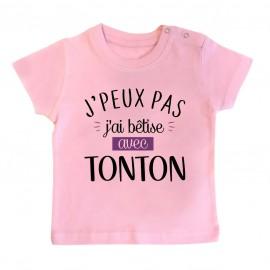 T-Shirt bébé J'peux pas j'ai bêtise avec tonton ( version fille )